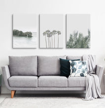 Load image into Gallery viewer, Gray tropical palms and ocean wall art. 3 piece canvas #190