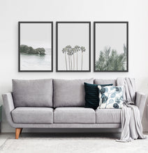 Load image into Gallery viewer, Three framed photo prints with a rock and some palms 4