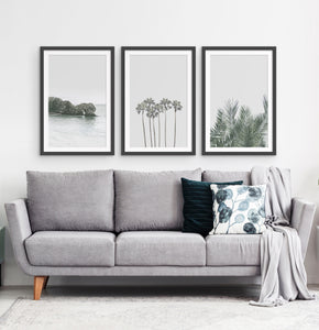 Three framed photo prints with a rock and some palms 2
