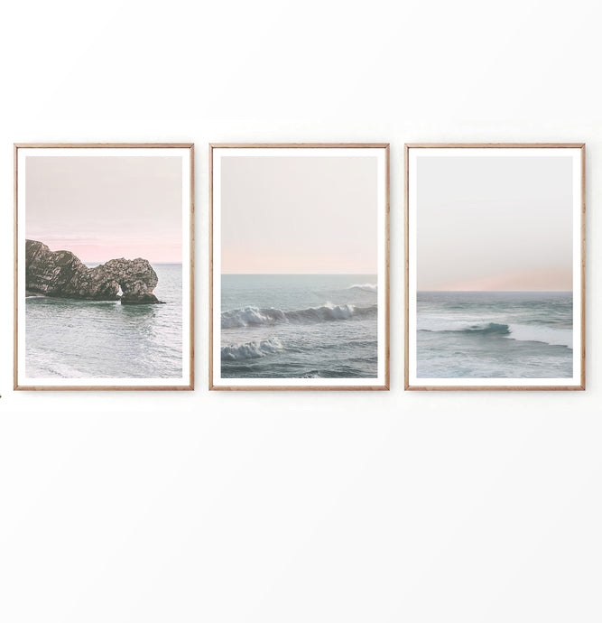 Perfect Sunset on the Sea Waves Set of 3 Prints