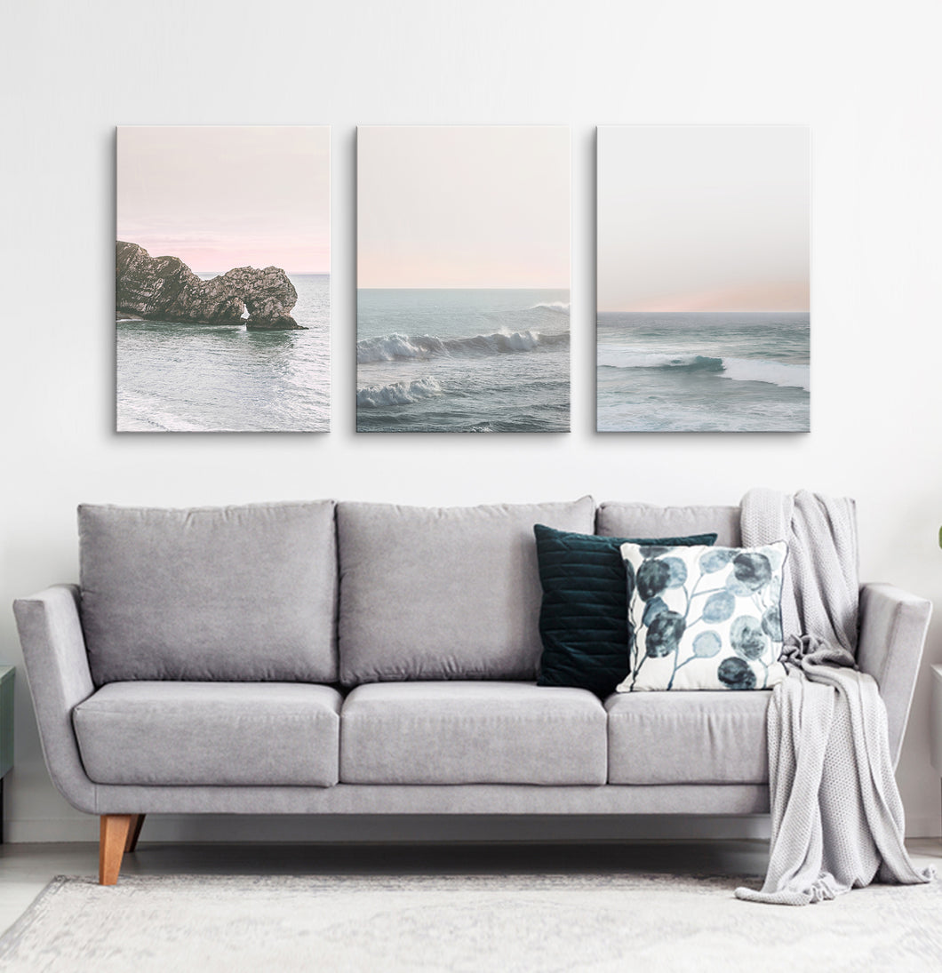 Pink beach wall decor. Set of 3 canvases #191