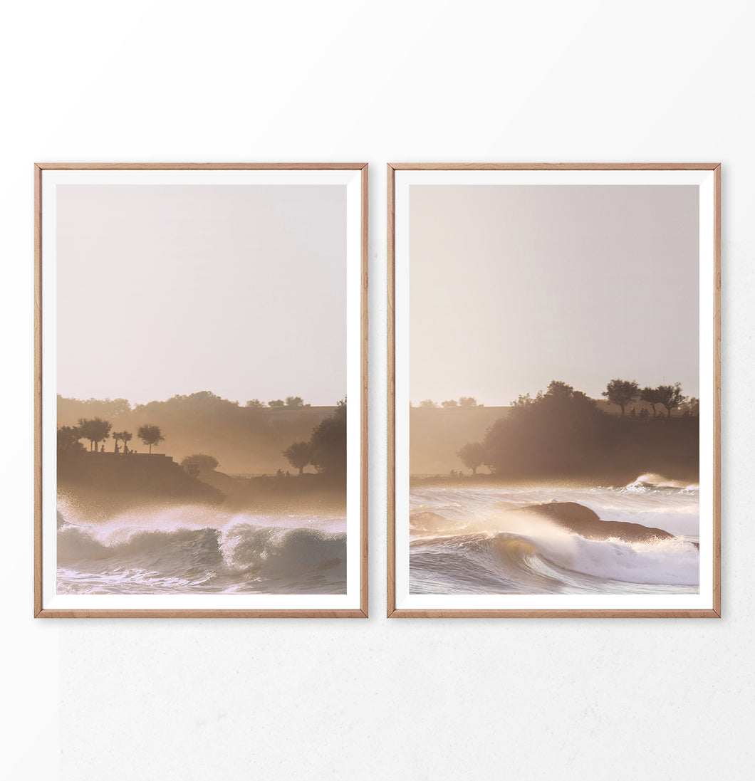 High Waves On the Beach Set of 3 Photography Prints