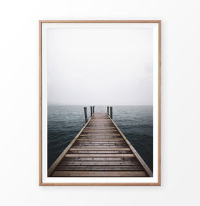 Wooden Pier and Cloudy Sea