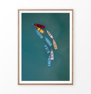 Colored Fishing Boats on Waves