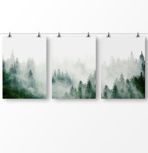 Trees wall art, tree landscape, Christmas tree art, misty forest, foggy forest, nature landscape