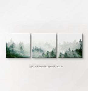 Misty Green Spruce Forest 3 Piece Canvas Photo Wall