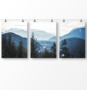 Blue forest Nordic landscape, foggy mountains, set of 3 nature wall art