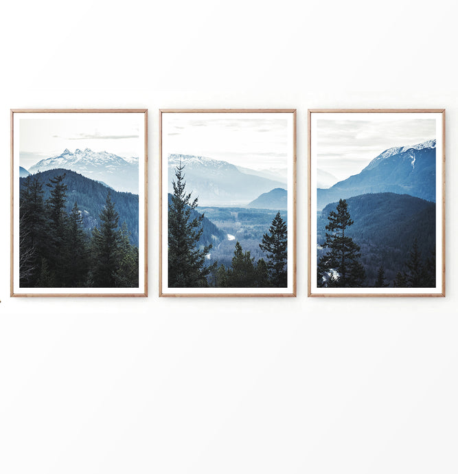 Mountain Landscape Photography in Blue Set of 3 Prints