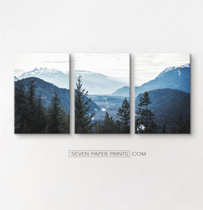 Blue forest in the mountains landscape. 3 piece canvas #208