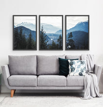Load image into Gallery viewer, Three photo prints of blue mountains and a forest above the sofa