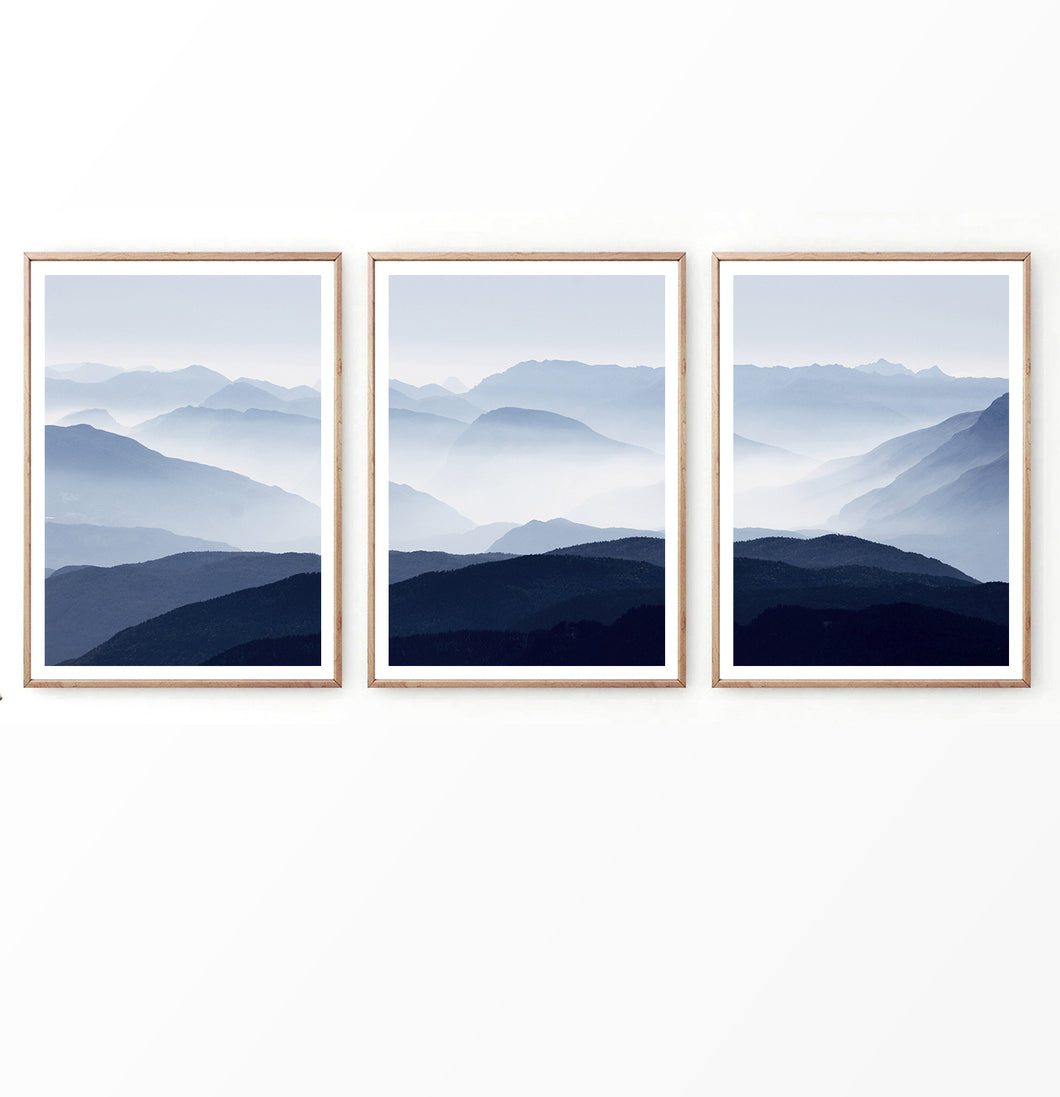 Blue Mountain Foggy Landscapes in Nordic Style Set of 3 Prints