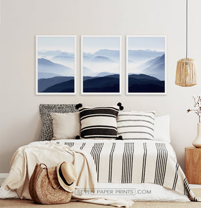 Three Framed Prints of a Foggy Mountain Scenery 2