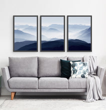 Load image into Gallery viewer, Three Framed Prints of a Foggy Mountain Scenery