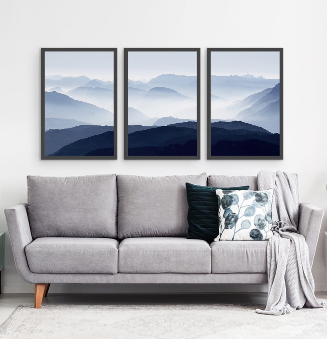Three Framed Prints of a Foggy Mountain Scenery