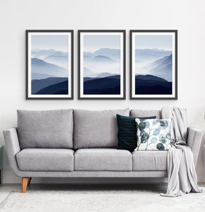 Three Framed Prints of a Foggy Mountain Scenery 3