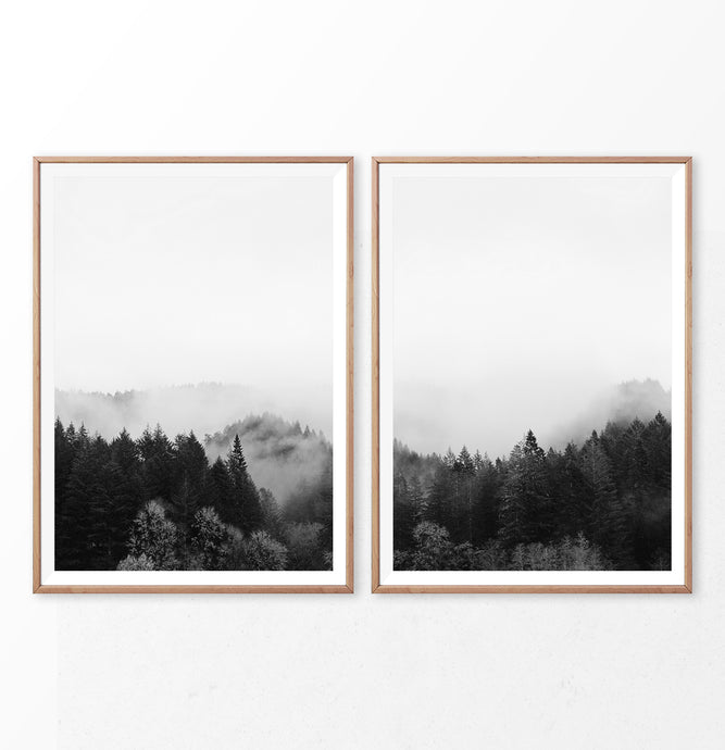 Black and White Mountain Forest Set of 2 Wall Art
