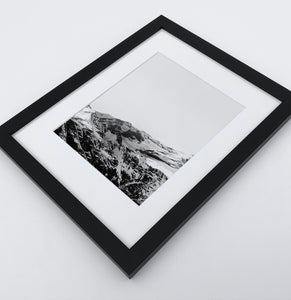 A photo print of snowy mountains