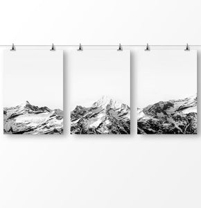Mountain landscape, black and white, Nordic Nature Poster, Minimalist Photo, Digital Photography, Snowy Range