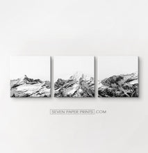 Load image into Gallery viewer, Black white mountains with snow. 3 piece canvas art #215