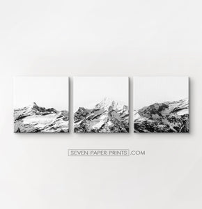 Black white mountains with snow. 3 piece canvas art #215