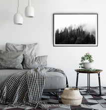 Load image into Gallery viewer, Dark Forest In Mist Black And White Poster