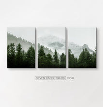 Load image into Gallery viewer, Green forest set of 3 canvas wall art #218