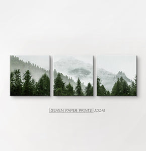 Green forest set of 3 canvas wall art #218