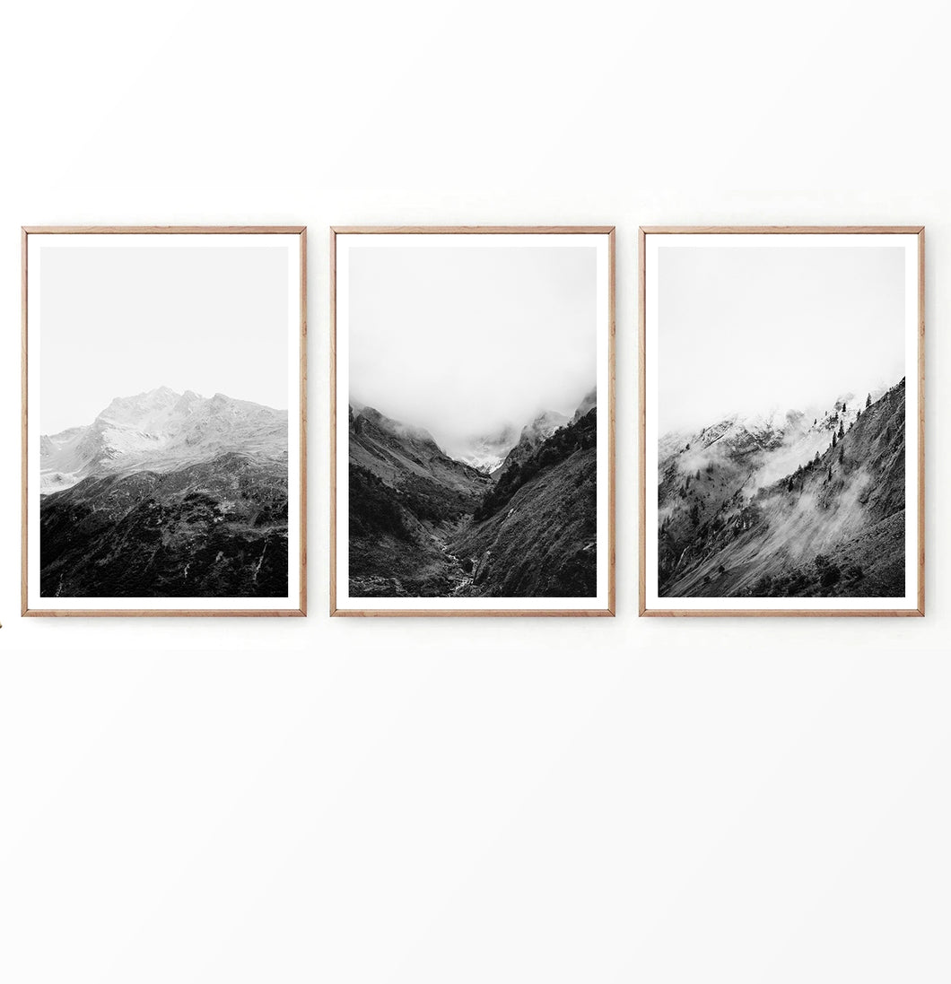 Black and White Foggy Mountain Photography Set of 3 Prints