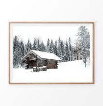 Load image into Gallery viewer, Wood-Framed Winter Barn Standing On Snowy Land Wall Art