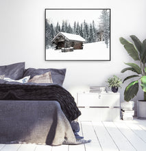 Load image into Gallery viewer, Black-framed Winter Barn Standing On Snowy Land Wall Art
