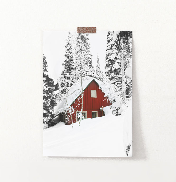 Snow-Padded House Under Winter Spruces Poster