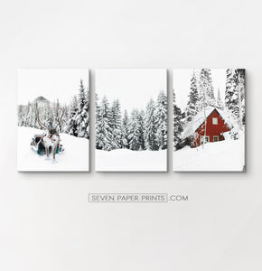Christmas set of 3 canvases with reindeer #223