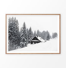 Load image into Gallery viewer, Wood-Framed Lovely Shack On Snowy Hill And Spruce Print