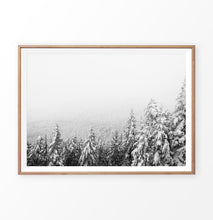 Load image into Gallery viewer, Wood-framed Winter Forest Valley Covered in Snow Photo Print