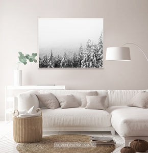 White-Framed Winter Forest Valley Covered in Snow Photo Print