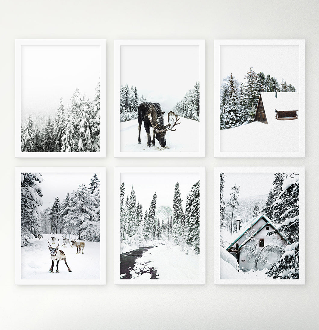 Winter mood prints. Moose, snowy forest, reindeer, river, cabin.