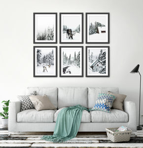 Winter 6 piece gallery wall - moose, deer, forest, cabins