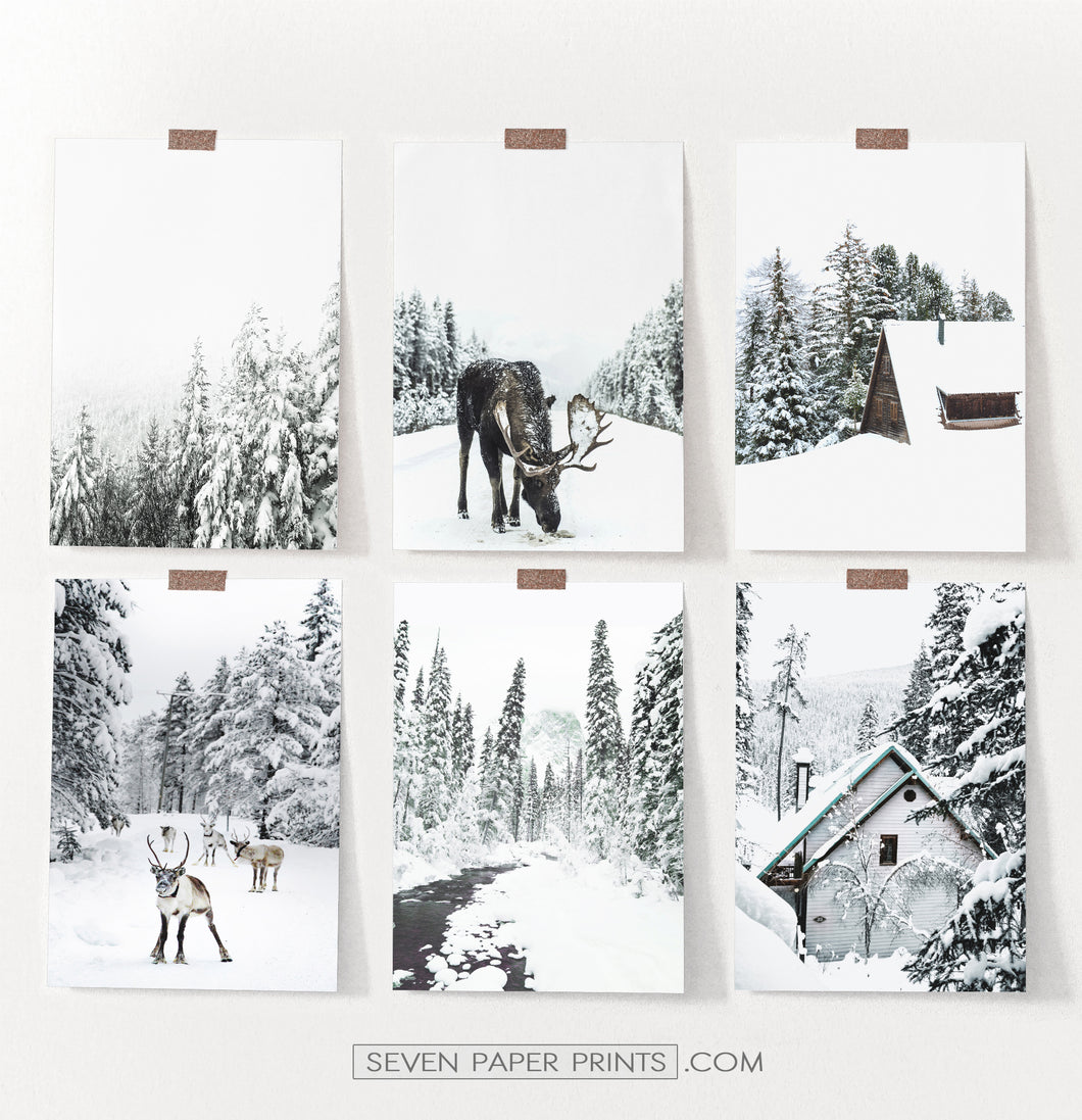Winter Gallery Wall Decor Set of 6 Prints with Moose