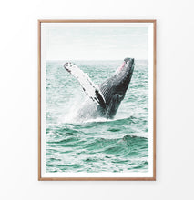Load image into Gallery viewer, Whale in the turquoise ocean waves wall art