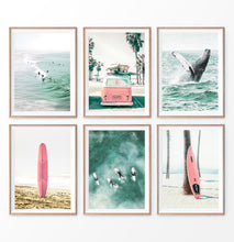 Load image into Gallery viewer, Coastal Nursery Set. 6 Piece Prints. Whale, Pink Surfboard, Pink Bus, Surfers