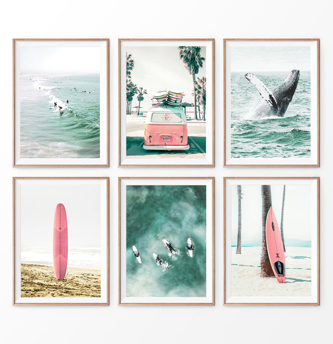 Coastal Nursery Set. 6 Piece Prints. Whale, Pink Surfboard, Pink Bus, Surfers