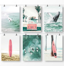 Load image into Gallery viewer, Whale in Teal Ocean, Palm Tree Photo, Pink Surfboards, Surfing Combi Van