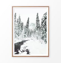 Load image into Gallery viewer, Wood-framed Beautiful Winter Forest River Wall Art
