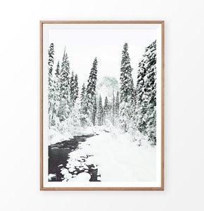 Wood-framed Beautiful Winter Forest River Wall Art