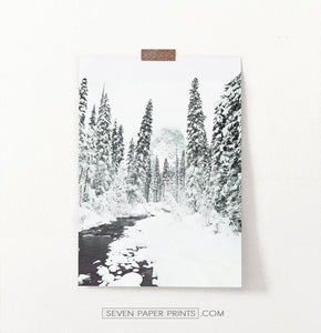 Beautiful Winter Forest River Wall Art