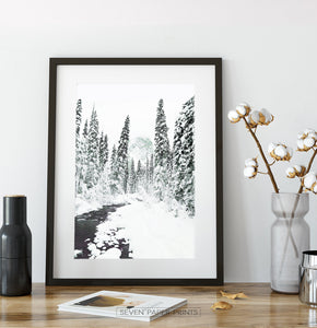 Black-framed Beautiful Winter Forest River Wall Art