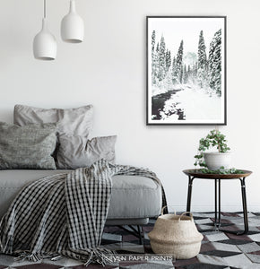 Black-framed Beautiful Winter Forest River Wall Art in the living room