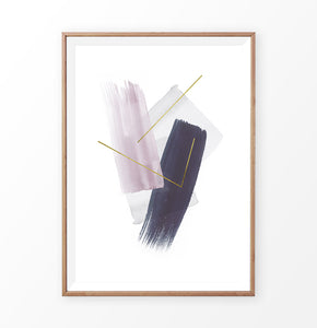 Abstract wall art print. Brush strokes