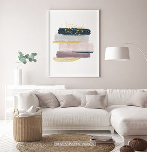 Warm Color Living, Abstract Wall Print with Gold