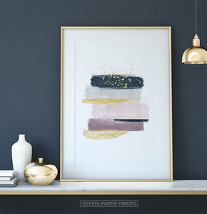Modern Abstract Art with Gold Splashes